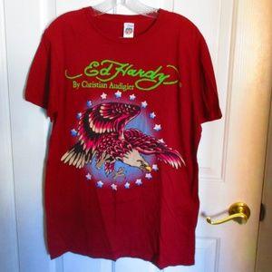 Ed Hardy Dark Red/Burgundy Tee LG New Eagle Tattoo